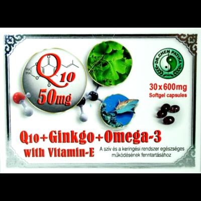 Q10+Ginkgo+Omega-3, E-vitaminnal